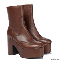 Dries Van Noten Platform Round Toe Casual Style Plain Leather Wedge Boots