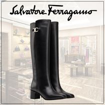 Salvatore Ferragamo Casual Style Plain Leather Elegant Style Over-the-Knee Boots