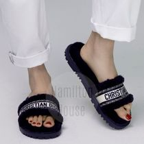 Christian Dior Open Toe Casual Style Elegant Style Mules Shearling Logo