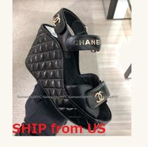 CHANEL ICON Open Toe Casual Style Blended Fabrics Plain Party Style