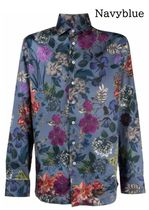 ETRO Flower Patterns Long Sleeves Cotton Front Button Luxury