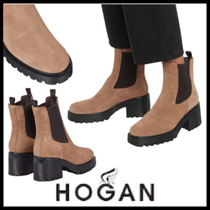 HOGAN Ankle & Booties Round Toe Casual Style Plain Leather Block Heels