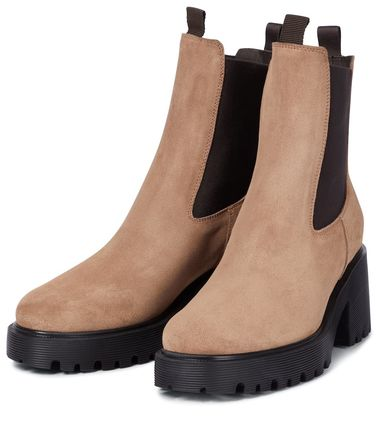 HOGAN Ankle & Booties Round Toe Casual Style Plain Leather Block Heels 2