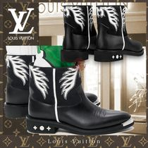 Louis Vuitton Street Style Bi-color Leather Logo Engineer Boots