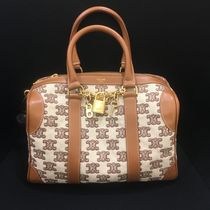 CELINE Small boston bag in textile with triomphe embroidery