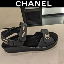 CHANEL Open Toe Platform Casual Style Unisex Footbed Sandals