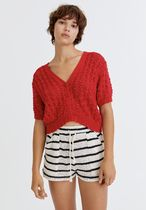 PULL & BEAR Cable Knit Casual Style Short Sleeves Sweaters