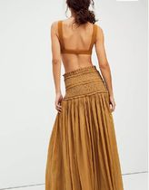 Free People Flared Skirts Casual Style Maxi Plain Cotton Long