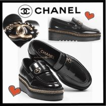 CHANEL ICON Casual Style Chain Plain Leather Loafer & Moccasin Shoes