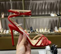 Jimmy Choo Open Toe Suede Plain Leather Pin Heels Party Style