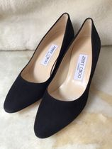 Jimmy Choo Plain Toe Casual Style Suede Plain Leather Pin Heels