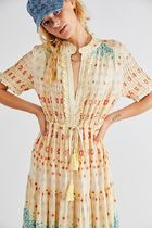 Free People Flower Patterns Casual Style Maxi Cotton Long Short Sleeves