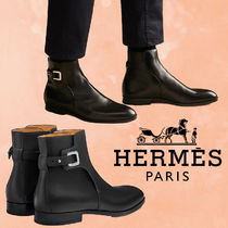 HERMES Street Style Plain Leather Engineer Boots