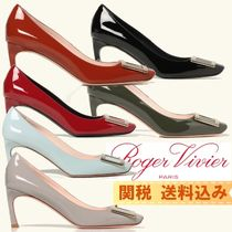 Roger Vivier Square Toe Casual Style Plain Leather Pin Heels Party Style