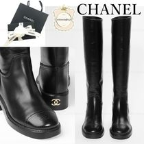 CHANEL Plain Leather Elegant Style Boots Boots