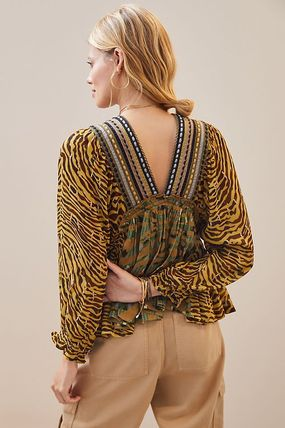 current air Shirts & Blouses Zebra Patterns Casual Style Other Animal Patterns 2