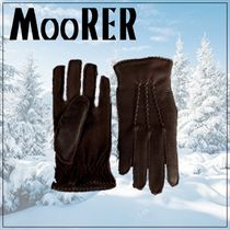 MOORER Cashmere Plain Leather Logo Leather & Faux Leather Gloves