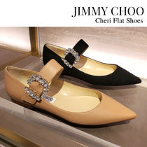 Jimmy Choo Suede Blended Fabrics Plain Leather Party Style With Jewels
