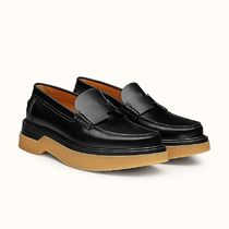 HERMES Platform Rubber Sole Casual Style Plain Leather Party Style