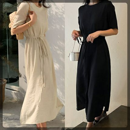 SSUMJ Dresses Crew Neck Casual Style Linen Cropped Plain Long Office Style