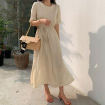 SSUMJ Crew Neck Casual Style Linen Cropped Plain Long Office Style