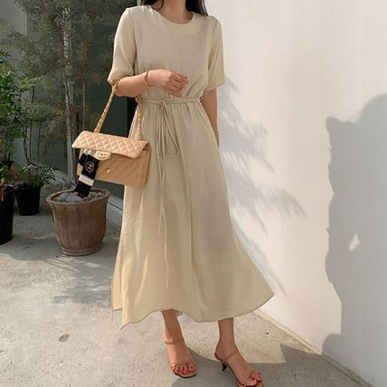 SSUMJ Dresses Crew Neck Casual Style Linen Cropped Plain Long Office Style 2