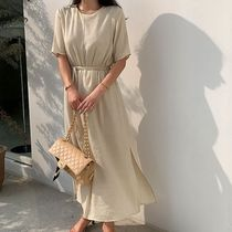 SSUMJ Dresses Crew Neck Casual Style Linen Cropped Plain Long Office Style 5