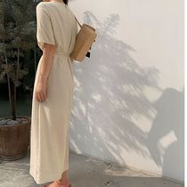 SSUMJ Dresses Crew Neck Casual Style Linen Cropped Plain Long Office Style 6