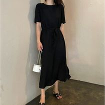 SSUMJ Dresses Crew Neck Casual Style Linen Cropped Plain Long Office Style 7