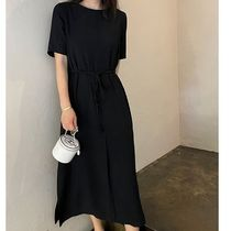 SSUMJ Dresses Crew Neck Casual Style Linen Cropped Plain Long Office Style 8