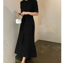 SSUMJ Dresses Crew Neck Casual Style Linen Cropped Plain Long Office Style 9