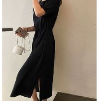 SSUMJ Dresses Crew Neck Casual Style Linen Cropped Plain Long Office Style 10