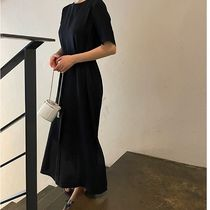 SSUMJ Dresses Crew Neck Casual Style Linen Cropped Plain Long Office Style 11