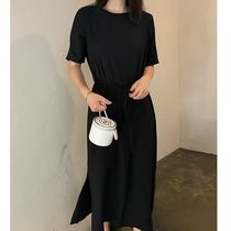 SSUMJ Dresses Crew Neck Casual Style Linen Cropped Plain Long Office Style 12