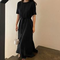 SSUMJ Dresses Crew Neck Casual Style Linen Cropped Plain Long Office Style 14