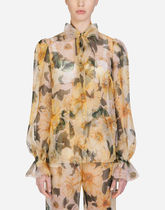 Dolce & Gabbana Camellia-print organza shirt with pussy bow
