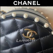 CHANEL Casual Style Plain Leather Party Style Elegant Style Logo