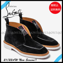 Christian Louboutin Suede Blended Fabrics Street Style Plain Chelsea Boots
