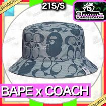 A BATHING APE Unisex Street Style Collaboration Wide-brimmed Hats