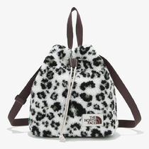 THE NORTH FACE WHITE LABEL Leopard Patterns Street Style Logo Straw Bags