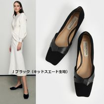 Charles&Keith Square Toe Platform Casual Style Plain Leather Block Heels