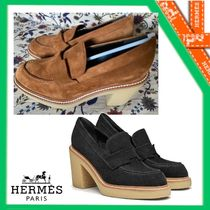 HERMES Plain Leather Party Style Office Style Elegant Style