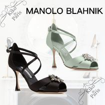 Manolo Blahnik Open Toe Casual Style Party Style With Jewels Elegant Style