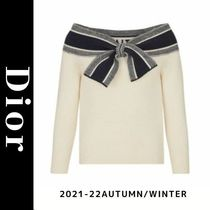 Christian Dior Casual Style Wool Cashmere Long Sleeves Elegant Style