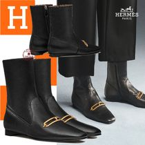 HERMES Casual Style Blended Fabrics Street Style Plain Leather