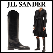 Jil Sander Plain Leather Over-the-Knee Boots