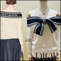 Christian Dior Lace-up Casual Style Wool Cashmere Street Style Bi-color