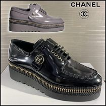 CHANEL Platform Plain Toe Casual Style Street Style Party Style