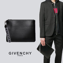 GIVENCHY Unisex Calfskin Street Style Logo Clutches