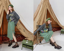 ELF SACK Pencil Skirts Other Plaid Patterns Casual Style Medium